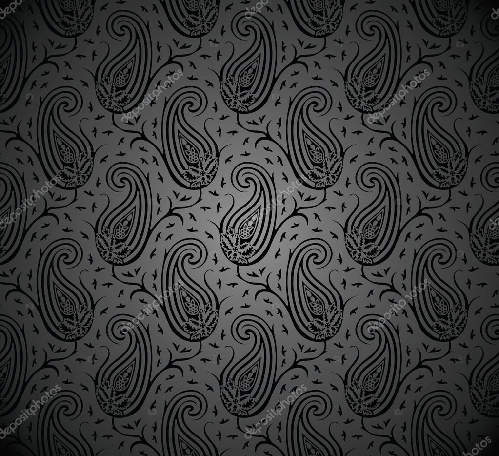 Seamless Royal Black Paisley Wallpaper Stock Vector
