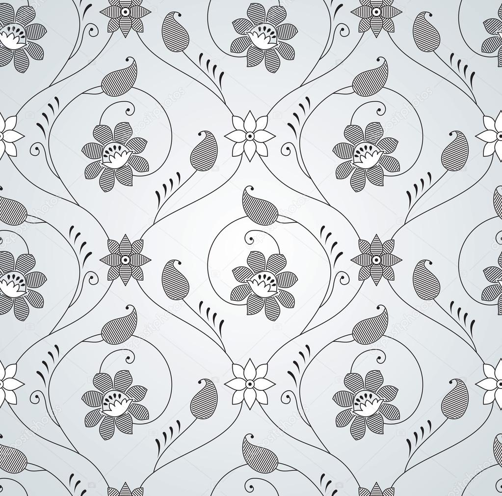 Seamless Fancy Silver Floral Wallpaper Stock Vector C Malkani
