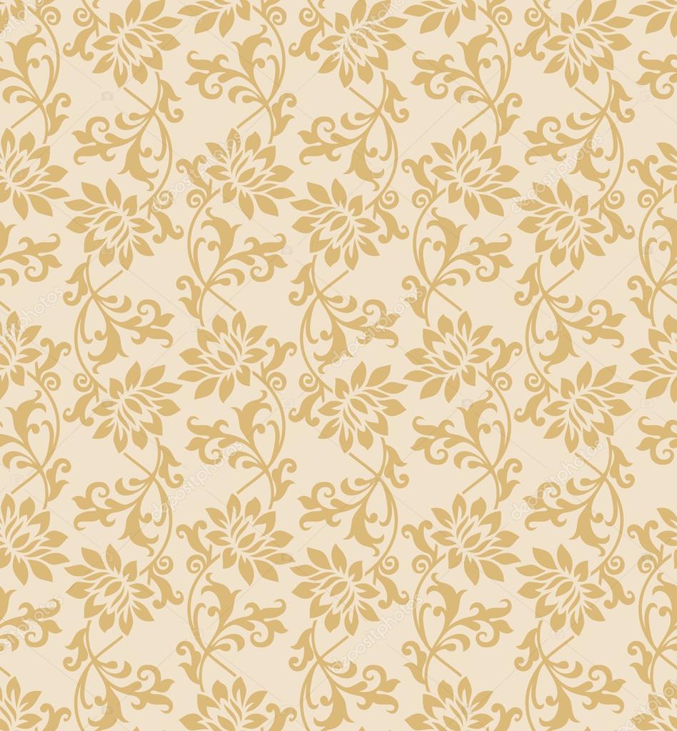 Seamless Fancy Vector Golden Floral Wallpaper By Malkani