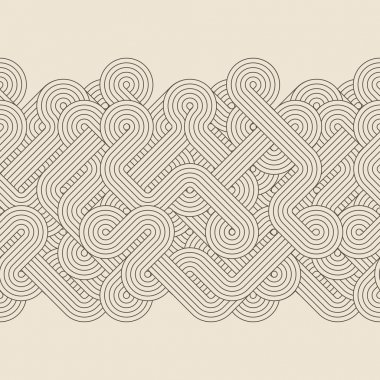 Seamless abstract border with twisted lines. Vector stock vector