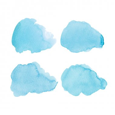 Set of blue watercolor clouds. Vector illustration clip art vector
