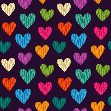 Seamless pattern with wild color hearts. Vector clip art vector