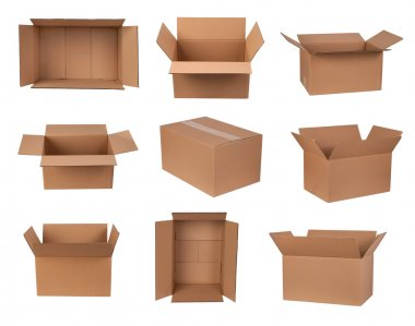 Cardboard boxes isolated on white stock vector