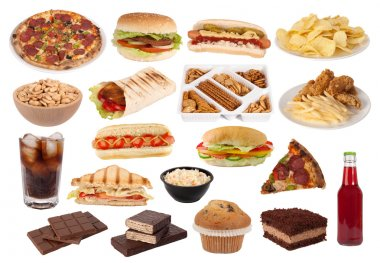 Fast food and snacks isolated on white background stock vector