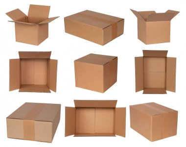 Cardboard boxes isolated on white