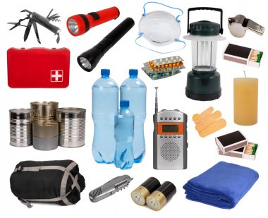 Objects useful in an emergency situation isolated on white stock vector