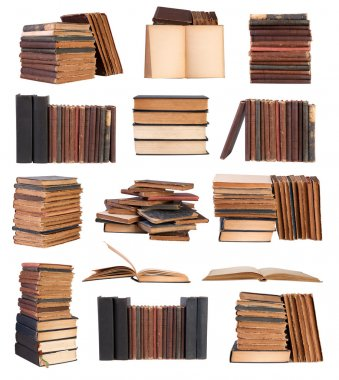 Old books isolated on white background stock vector