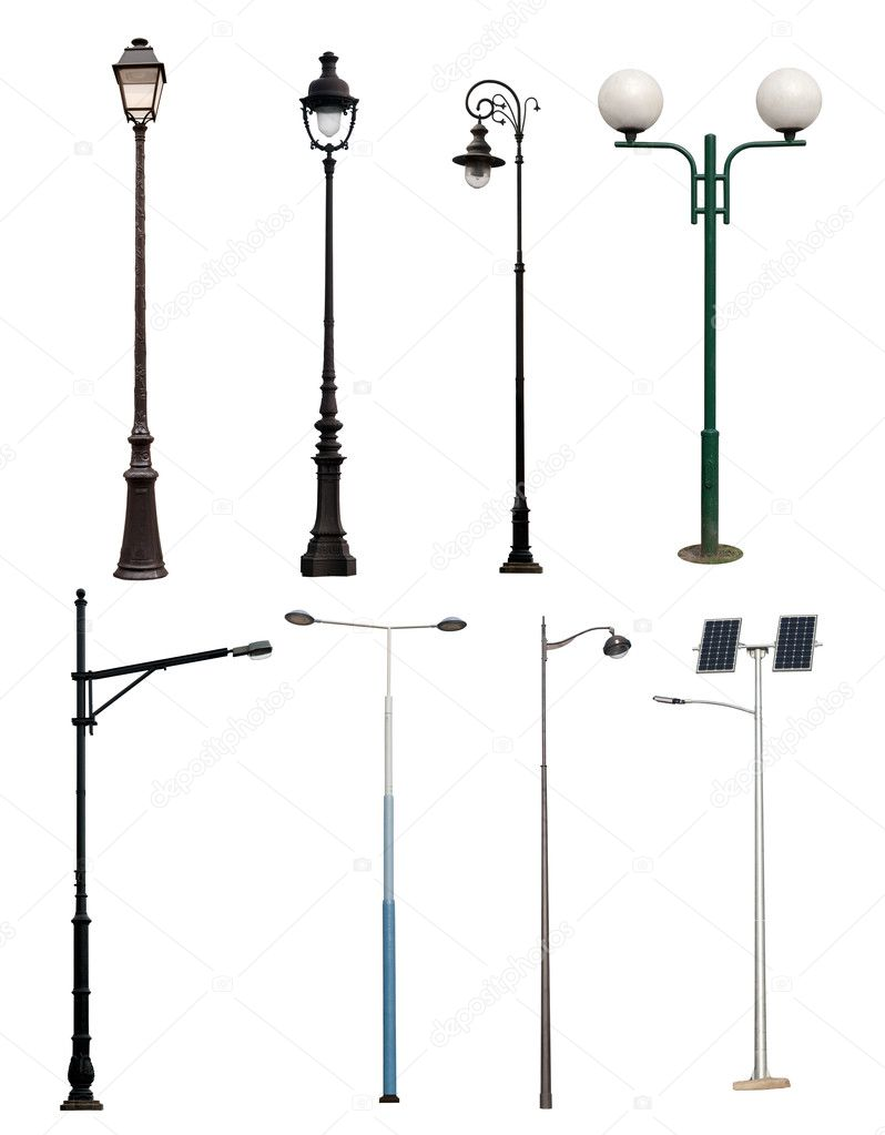 Lamp posts isolated on white — Stock Photo © photkas #22881438 for Street Lamp Post Vector  181plt