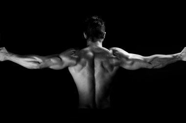 Muscular man black and white