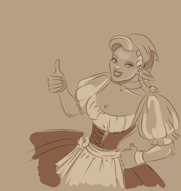 Beer girl doodle. toned sketch