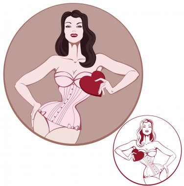 young attractive woman on lingerie hold a heart card