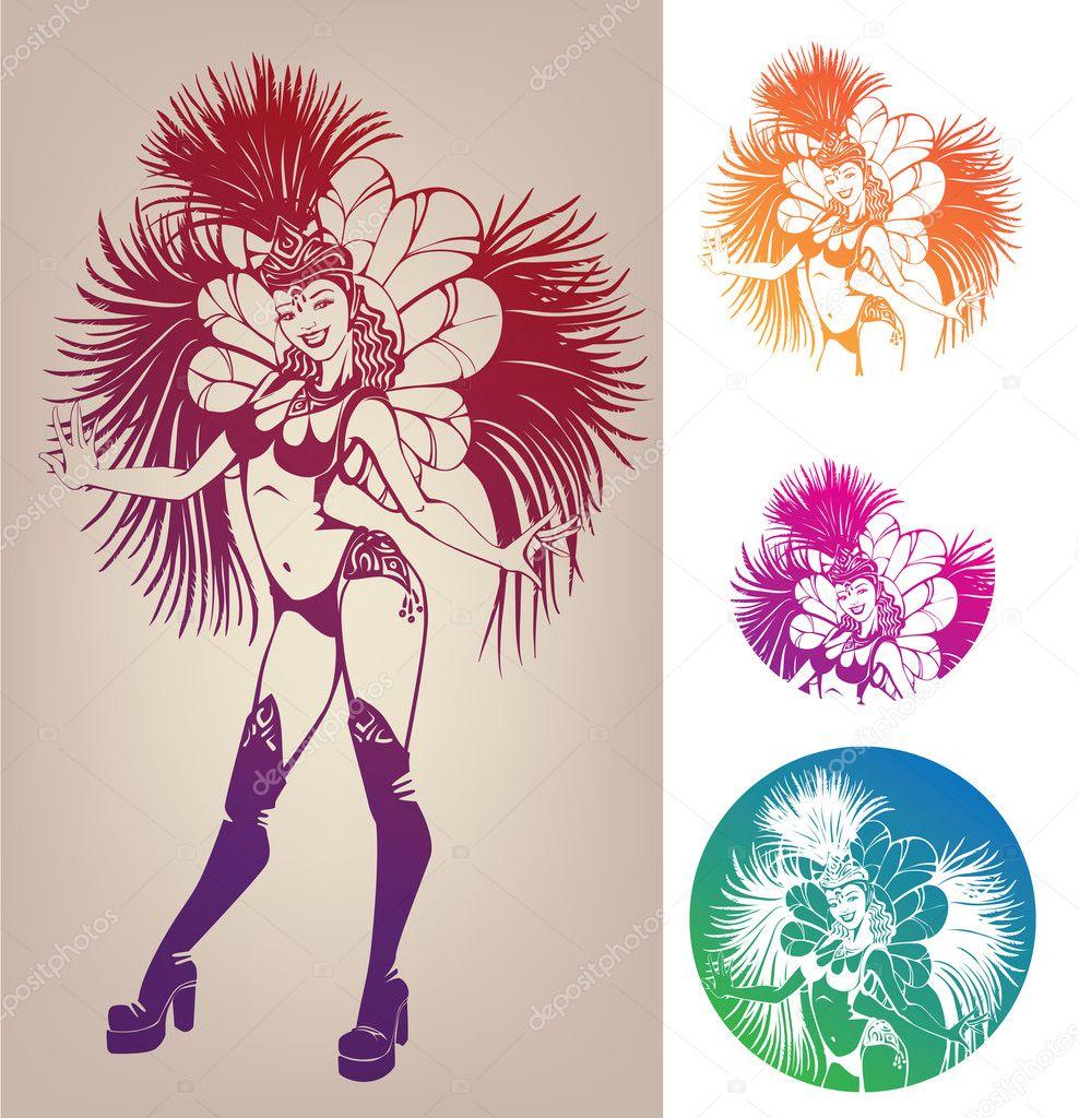 Danseuse de dessin au trait d 39 encre en costume de plumes - Dessin costume ...