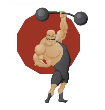Smiling strong man lift a barbell