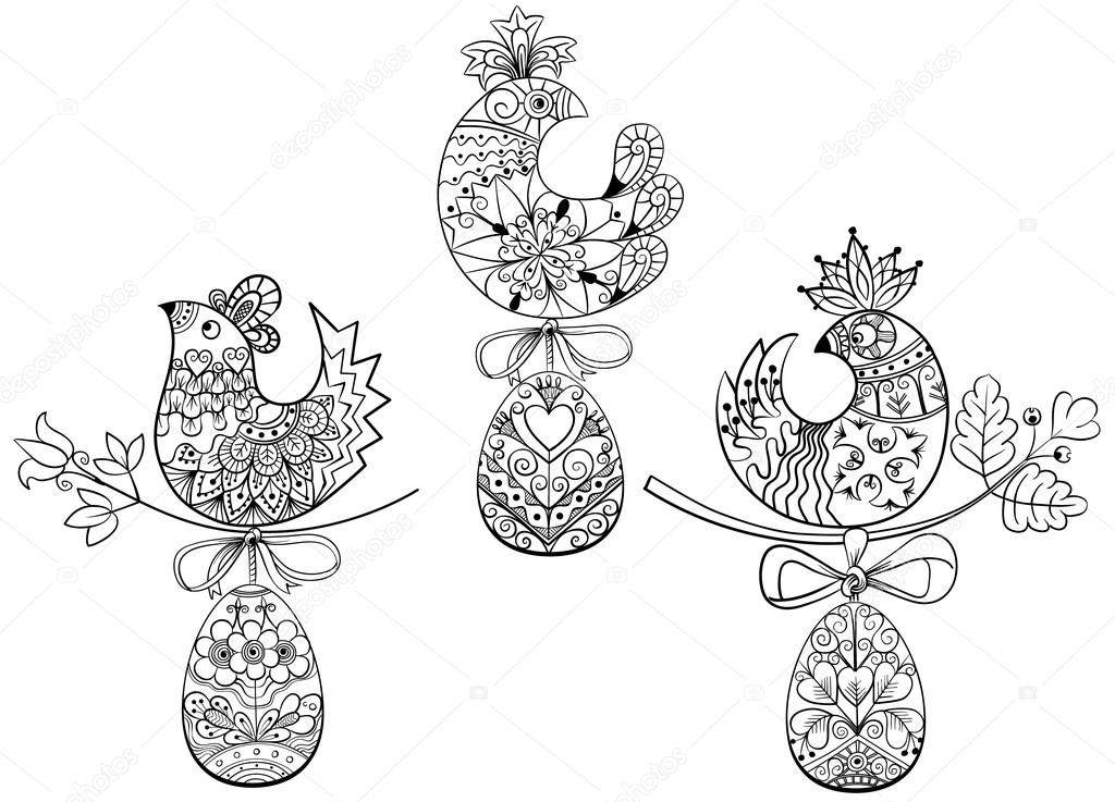 coloring pages with symbols of easter chick egg stock vector