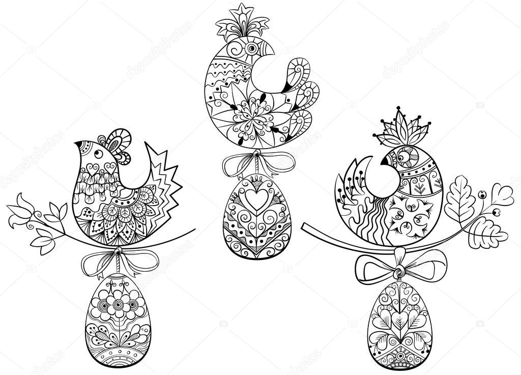 Pagine Da Colorare Con I Simboli Dell Uovo Di Pasqua Pulcino