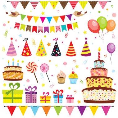 набор элементов вечеринки по случаю дня рождения