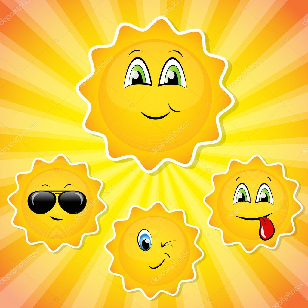 Set of sun smileys
