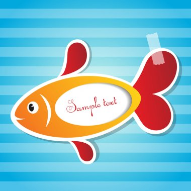 Vector fish sticker with tape