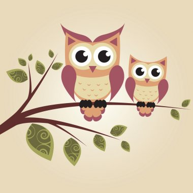 Two owls on the tree