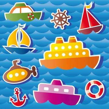 Set of vector sea transport stickers