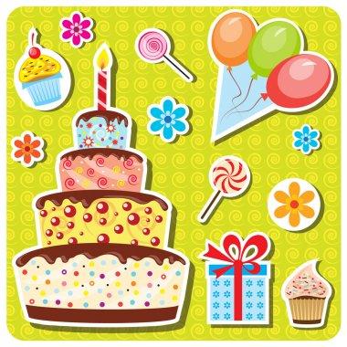 Vector birthday party set