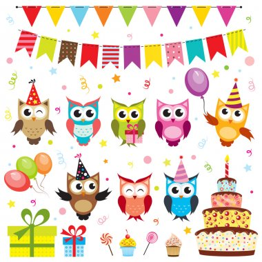 Set of vector birthday party elements with owls