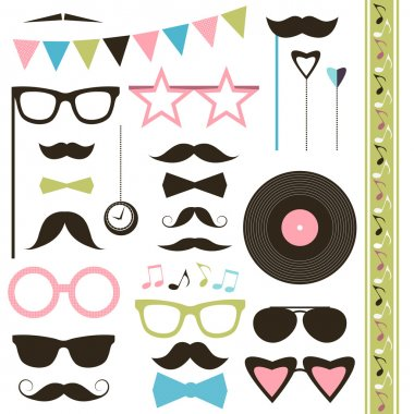 Set of retro disco party elements. Mustaches and sunglasses.
