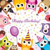 Fotografie Birthday card with owls