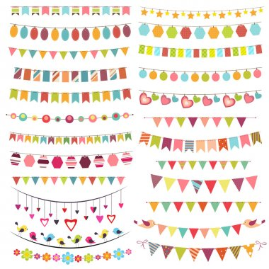 Colorful bunting and garlands clip art vector