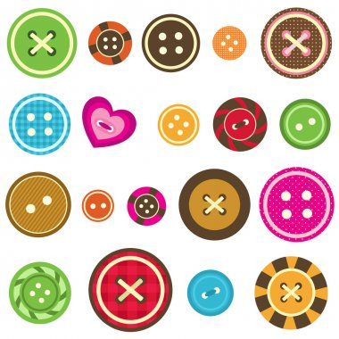 Sewing buttons on white background