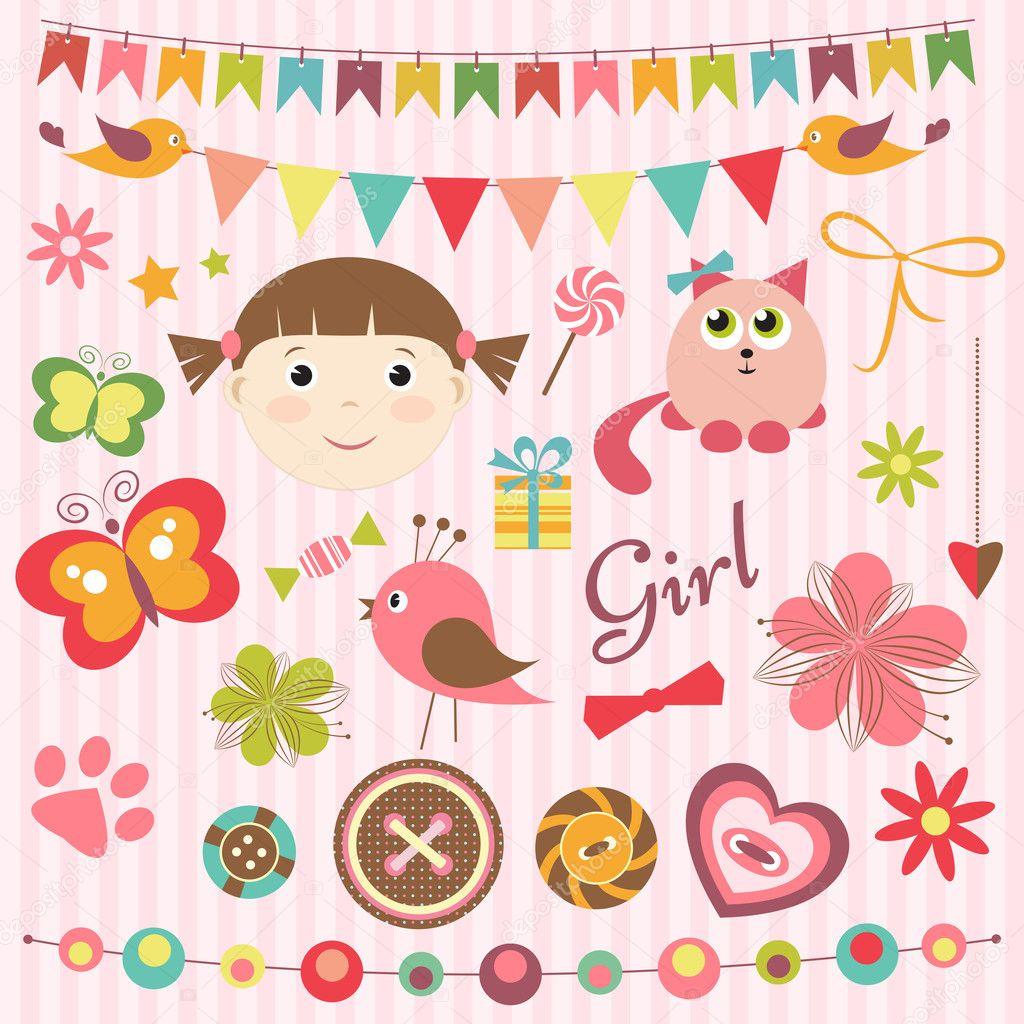 How to scrapbook for baby girl - Scrapbook Baby Girl Set Stock Vector 18129109