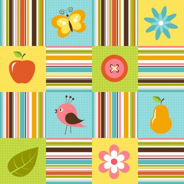 Patchwork background with flowers, bird, pear and apple
