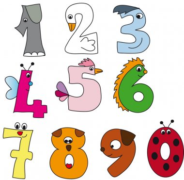 Funny numbers illustration stock vector