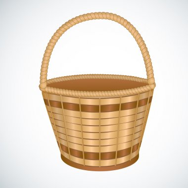 Wicker empty basket isoaleted vector