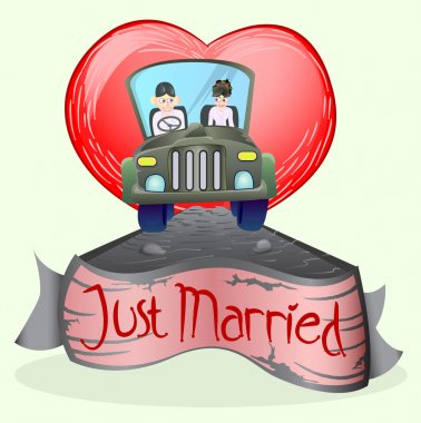 Just married couple driving open cup car