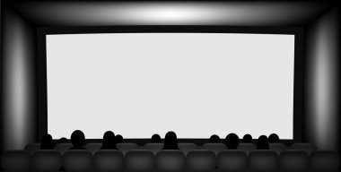 Blank cinema screen and silhouettes on seats