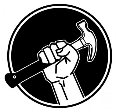 Hand holding a hammer