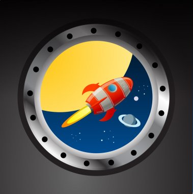 Rocket in space view from illuminator clip art vector