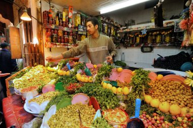 Market in a city Fes in Morocco