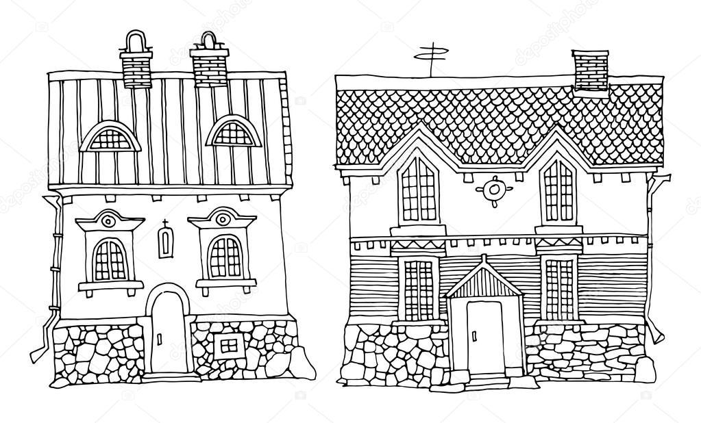 Hand tekenen van huizen stockvector fla 18475289 for Huizen tekenen