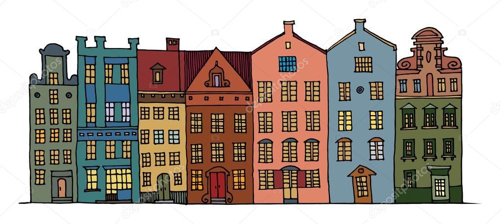 Cartoon hand tekenen van huizen stockvector fla 19109759 for Huizen tekenen
