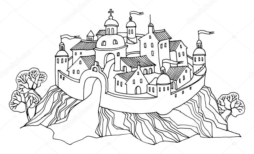 cartoon hand drawing castle stock vector 19319111