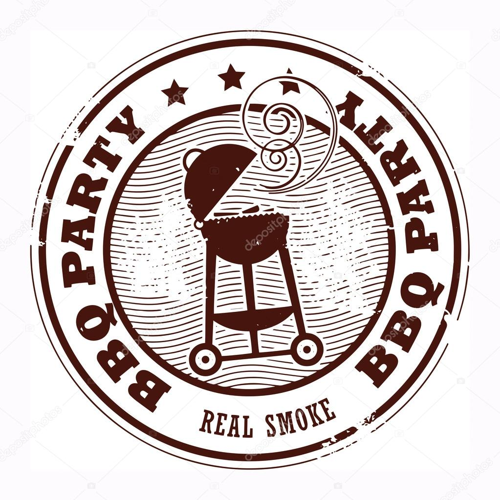 Bbq Party Stamp Stock Vector 169 Fla 19988211