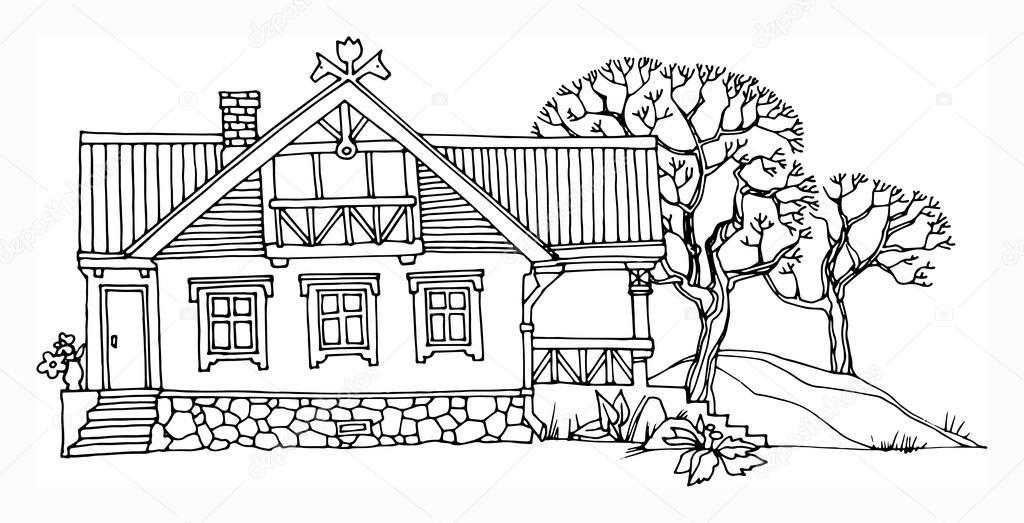 примеру, рисунок деревенский домик с узорами достижения успешность