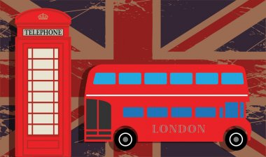 Phone booth and red bus