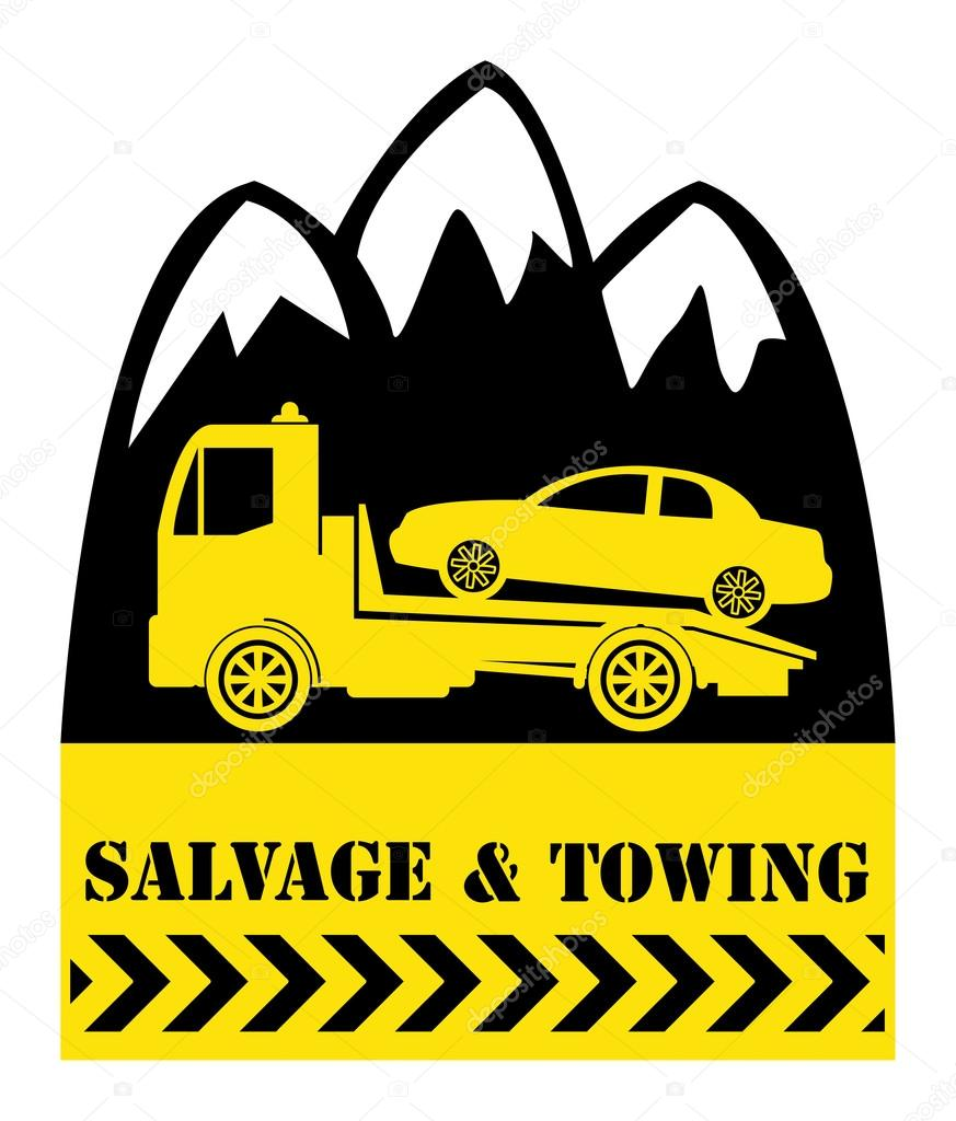 Car salvage and towing — Stock Vector © _fla #23364668