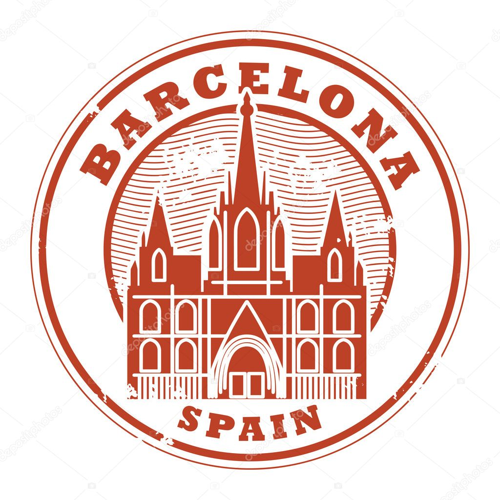 Barcelona Spain Stamp Stock Vector