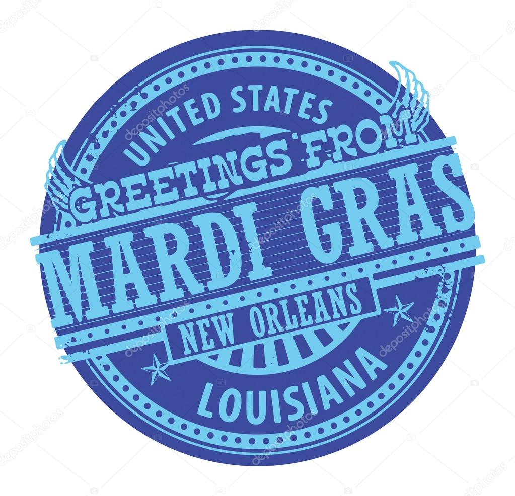 Greetings From Mardi Gras Stamp Stock Vector Fla 28926035