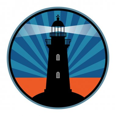 Label with lighthouse