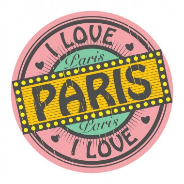 Grunge color stamp with text I Love Paris inside, vector illustration